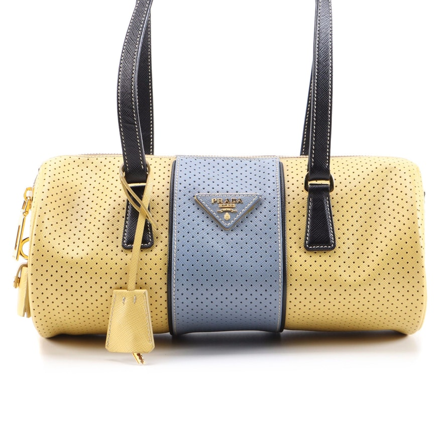 Prada Barrel Bag in Color Block Perforated Saffiano Leather