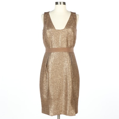 Bill Blass New York Gold Metallic Sleeveless Cocktail Dress