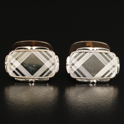 Vintage Rectangular Cross Hatch Cufflinks