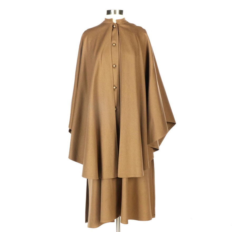 Saint Laurent Rive Gauche Wool Inverness Cape Coat