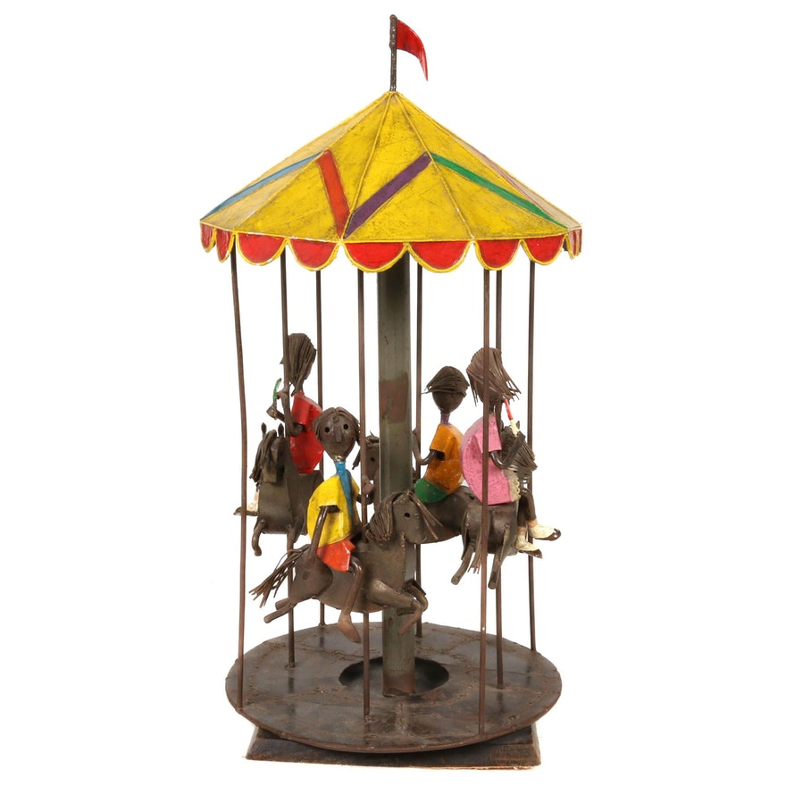 "Manuel Felguerez Folk Art Wrought Iron ""The Carousel"" Sculpture, 1960s"