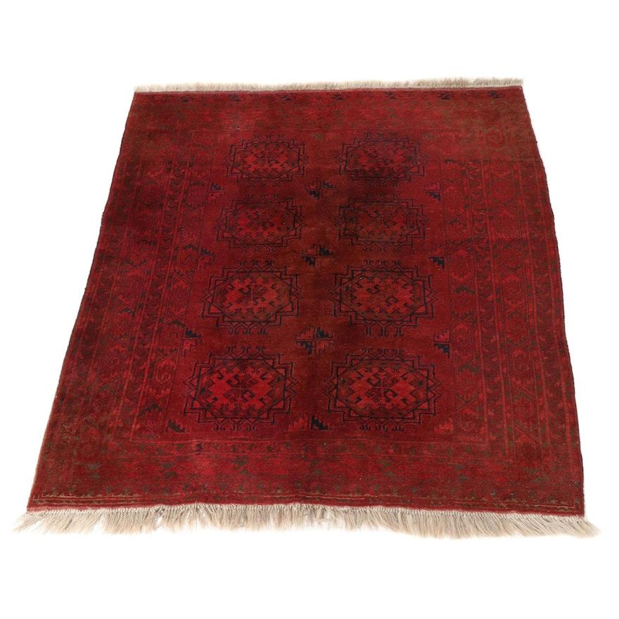 5'9 x 7'5 Hand-Knotted Afghani Turkoman Rug, 1960s