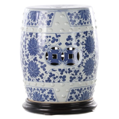 East Asian Blue and White Porcelain Garden Stool and Wood Base