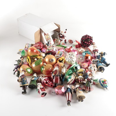 Handblown Glass and Other Christmas Tree Ornaments, Mid to Late 20th Century