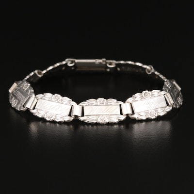 "Vintage Sterling ""Forget-Me-Not"" Bracelet"