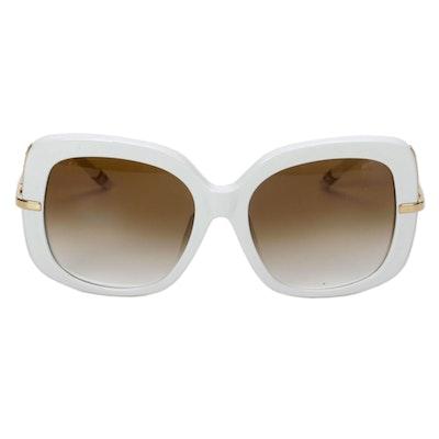 Boucheron Paris Rhinestone Sunglasses in White with Case