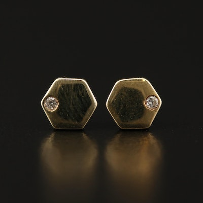 Minimalist 10K Diamond Stud Earrings