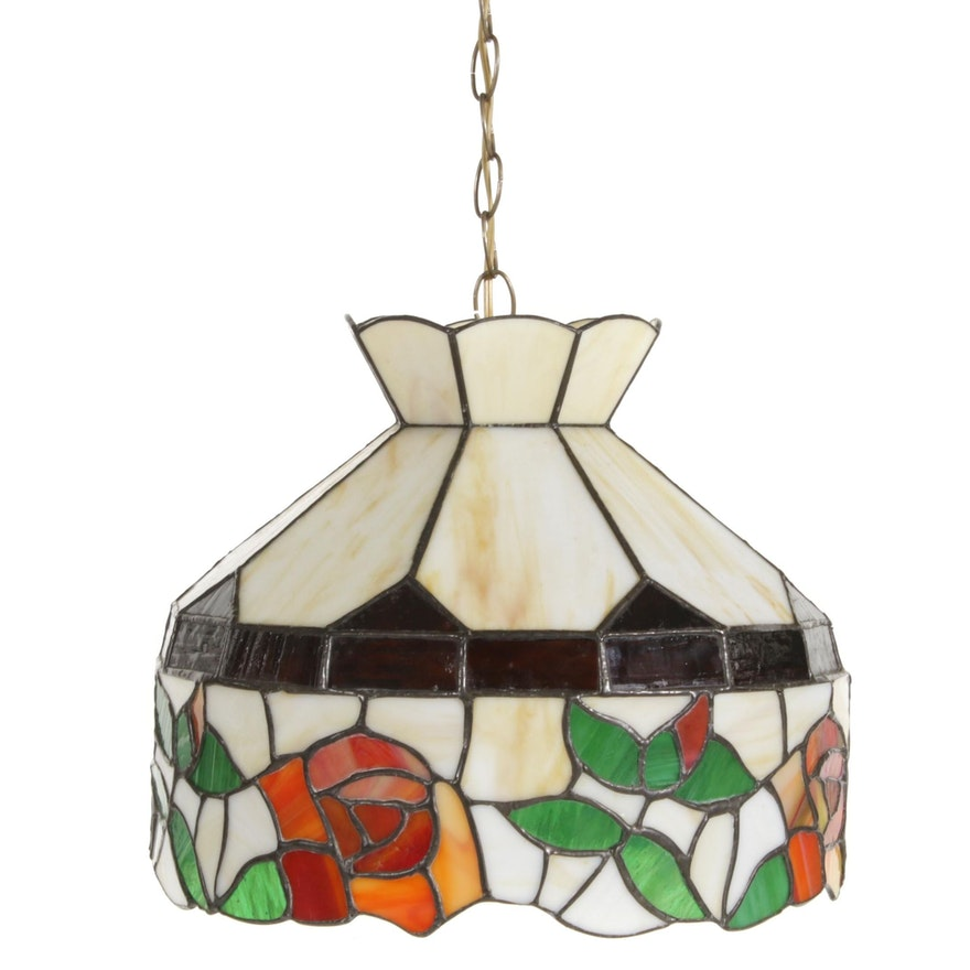 Slag Glass Hanging Pendant Lampshade with Rose Motif