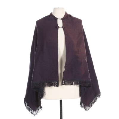 Wool Shawl with Buttons and Fringe, Mid-Late 19th Century