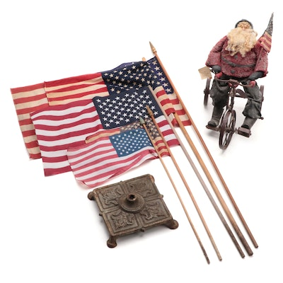 Elaine M. Slack Santa Figurine, Cast Iron Holder, and American Flags