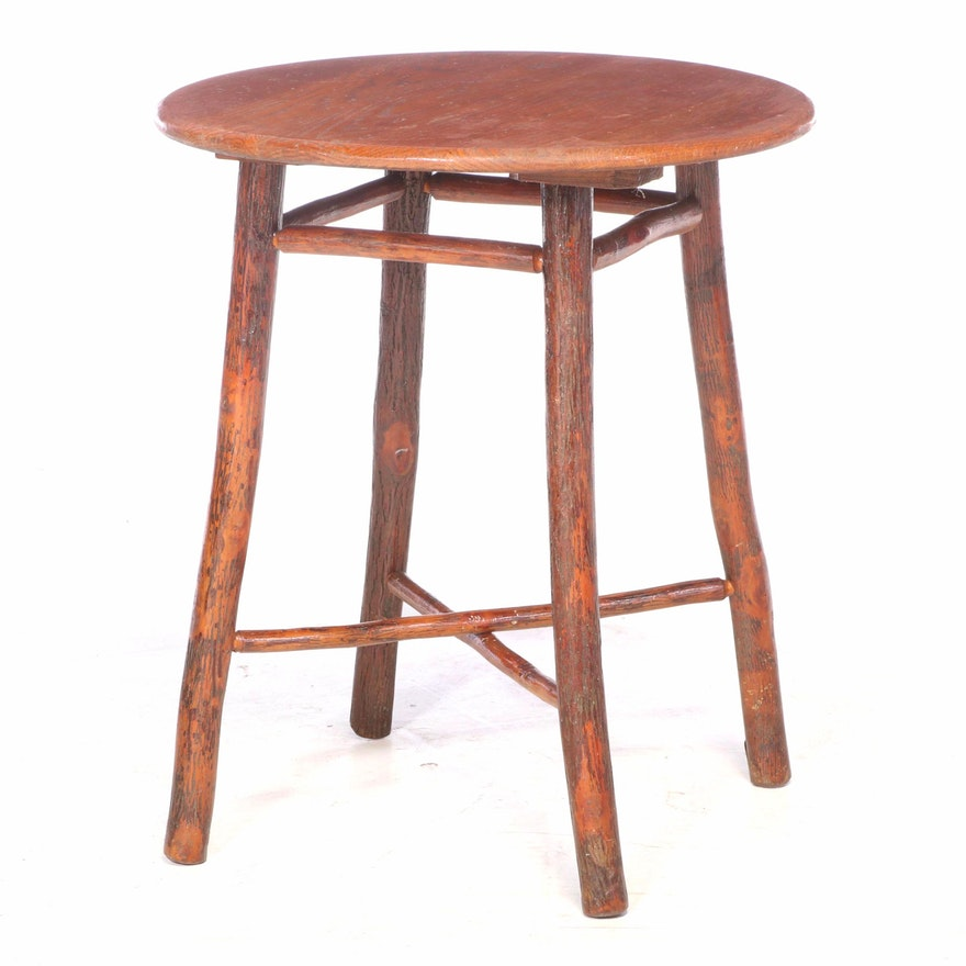 Old Hickory Furniture Co. Rustic Twig and Oak Top Side Table, 20th Century