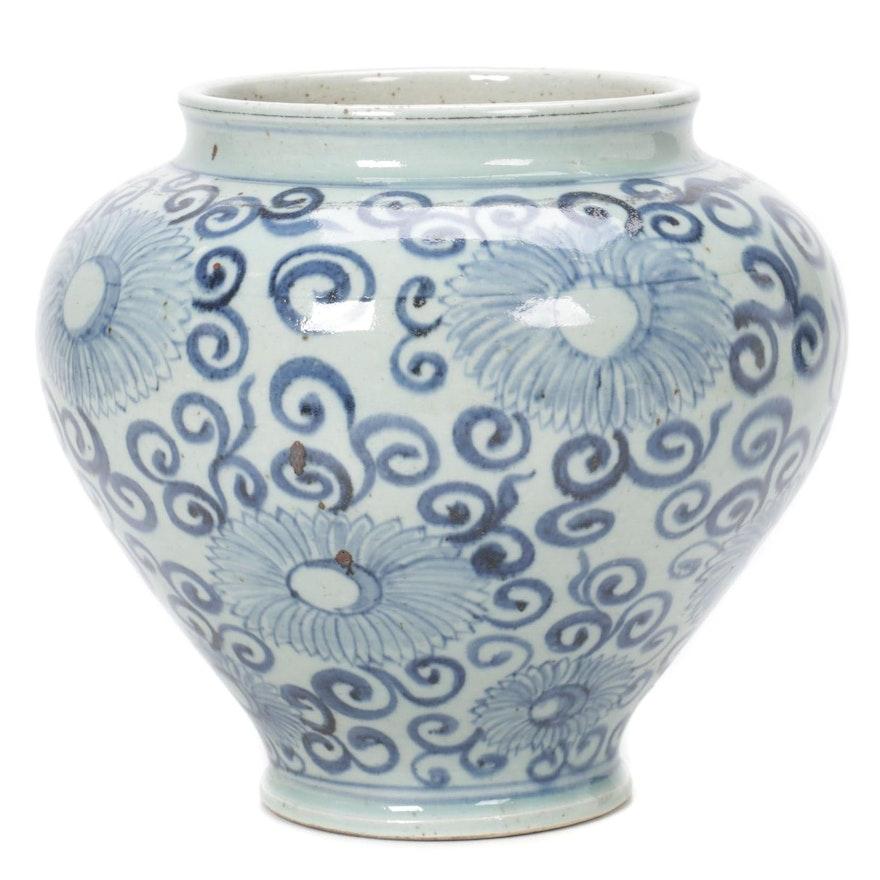 Chinese Blue and White Chrysanthemum Vase