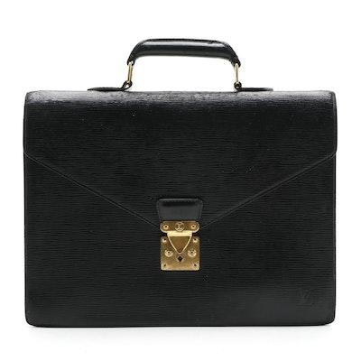 Modified Louis Vuitton Serviette Ambassadeur Briefcase in Black Epi Leather