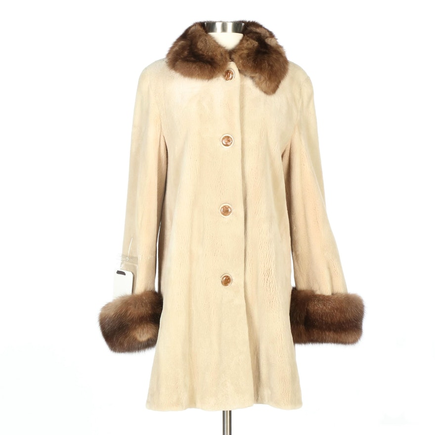 Camel Dyed Sheared Mink Fur Coat with Sable Fur Trim