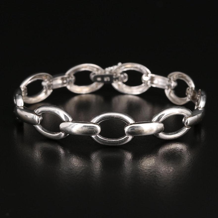 14K Oval Link Bracelet with Diamond Clasp