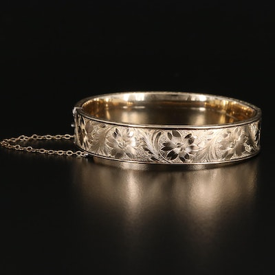 Dunn Bros Vintage Sterling Floral Oval Hinged Bangle