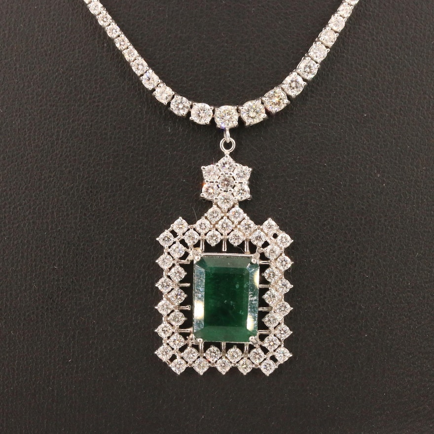 14K Emerald and 4.70 CTW Diamond Necklace