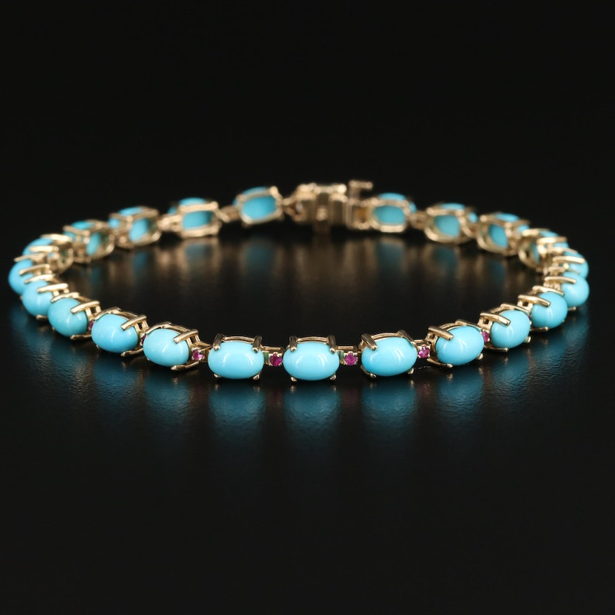 14K Turquoise and Ruby Bracelet