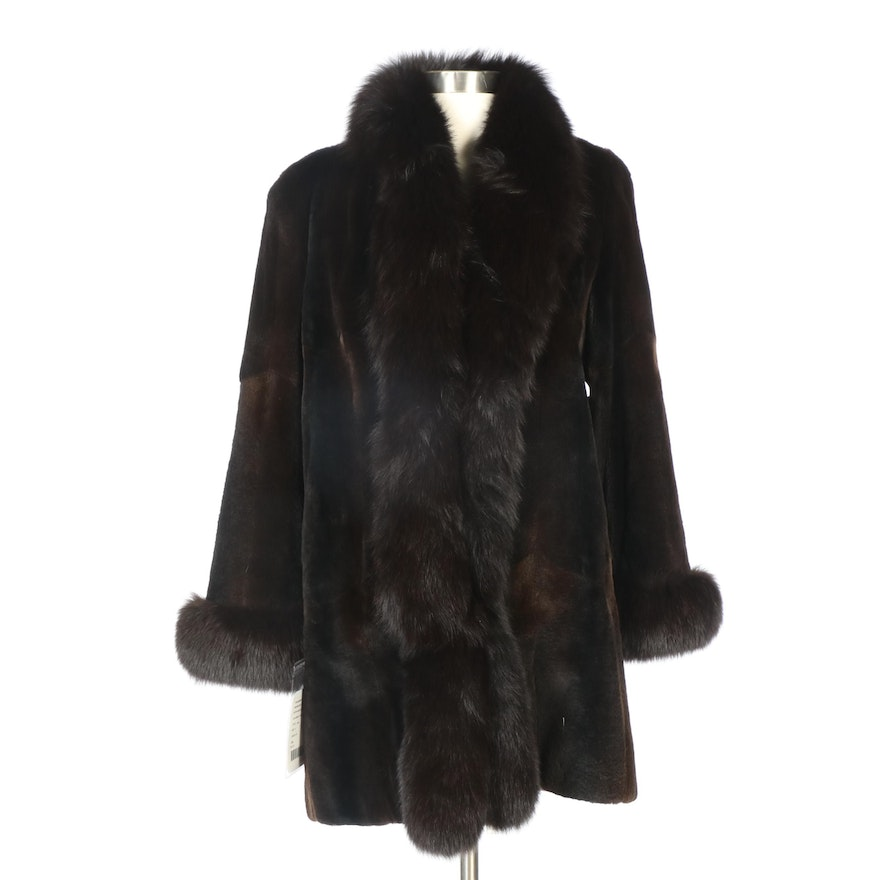 Brown Dyed Sheared Mink Fur Coat with Dyed Fox Fur Trim