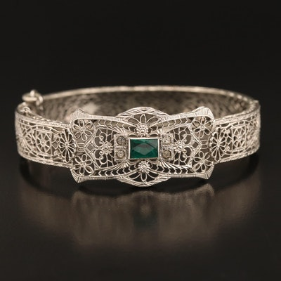 Art Deco Glass and Rhinestone Filigree Hinged Bangle