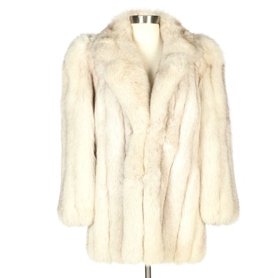 Blue Fox Fur Coat with Shawl Collar