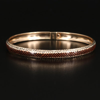 14K Enamel and Diamond Cut Bangle