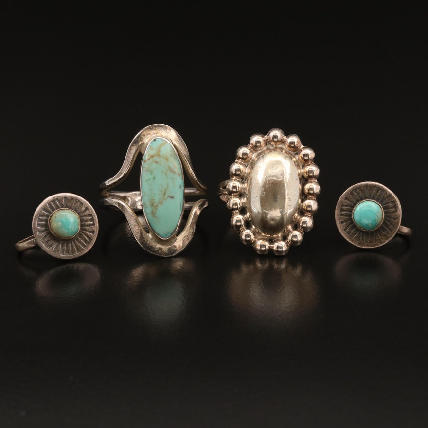 Rings and Earrings Featuring Turquoise and Sterling Silver