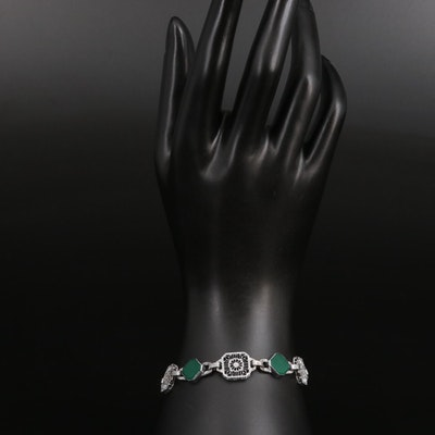 Art Deco Glass Filigree Panel Bracelet