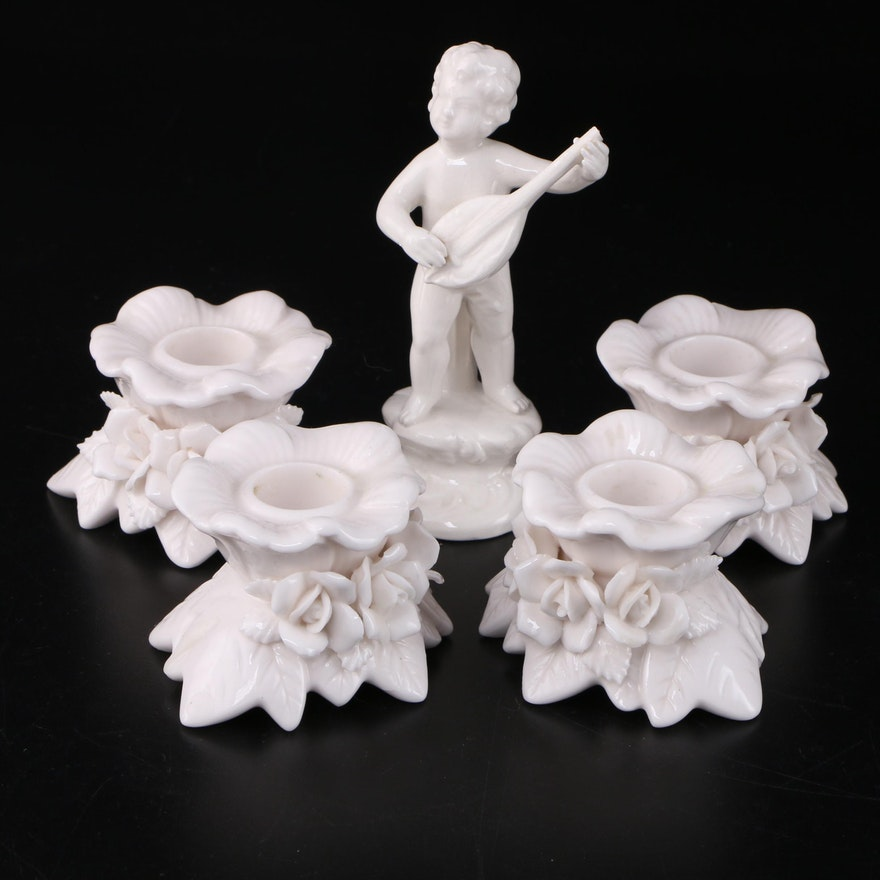 Mario R. Eredi Porcelain Cherub Figurine with Porcelain Floral Candle Holders
