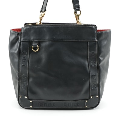 Chloé Eden Black Coated Lambskin Leather Shoulder Tote with Contrast Stitching