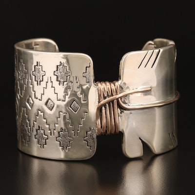 Signed Western Sterling Cuff with Stampwork