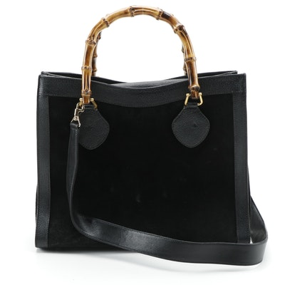 Gucci Bamboo Two-Way Shopper Tote in Black Suede and Leather