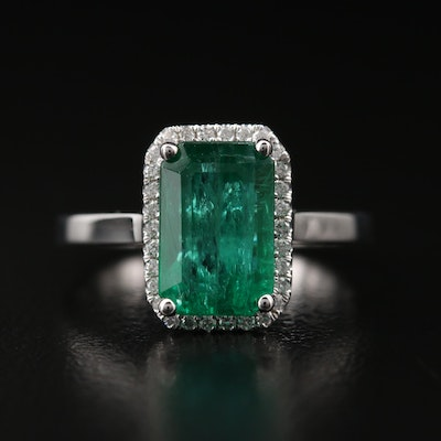 14K 2.80 CT Emerald and Diamond Halo Ring with AGL Prestige Report