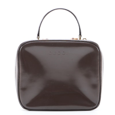 Modified Gucci Brown Patent Leather Top Handle Bag