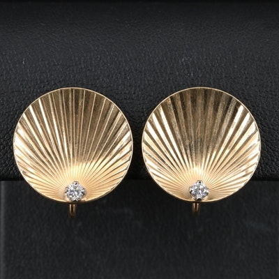 Vintage 14K Diamond Earrings with Fluted Design