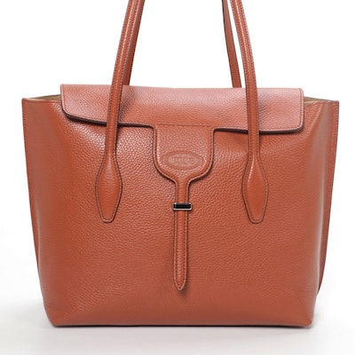 Tod's Tote in Cognac Brown  Grained Leather
