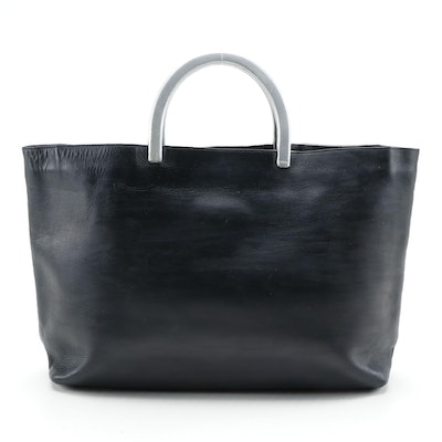 Modified Prada Leather Tote Bag with Metallic Handles