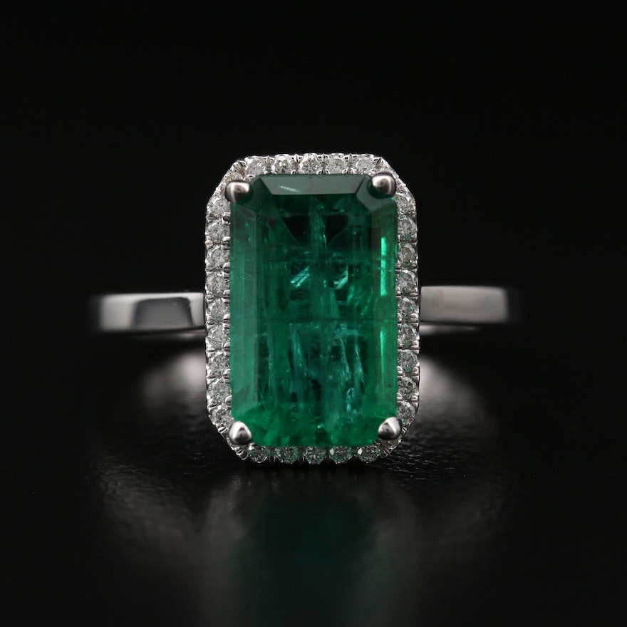 14K 3.24 CT Emerald and Diamond Halo Ring with AGL Report