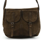 Prada Brown Suede Flap Front Saddle Bag
