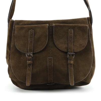Prada Brown Suede Flap Front Saddle Bag