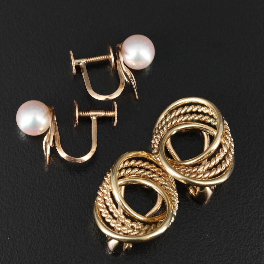 14K Pearl and Interlocking Circular Non-Pierced Earrings