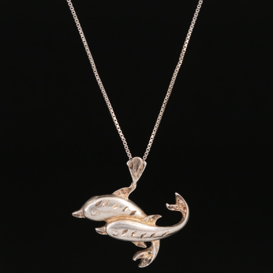 Sterling Silver Double Dolphin Pendant Necklace