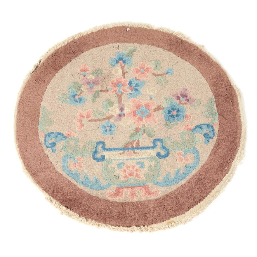 2'1 x 2'1 Hand-Knotted Chinese Art Deco Round Rug, 1930s
