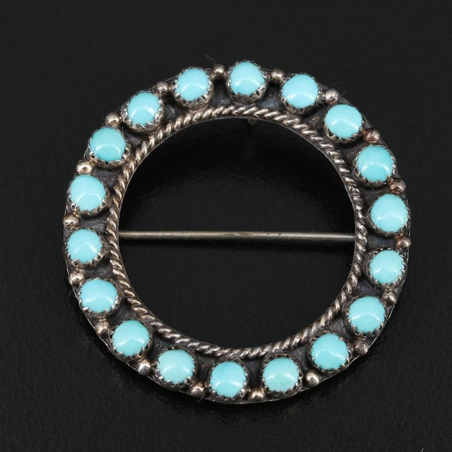 Ellen & Lawrence Lonasee, Zuni Sterling Turquoise Circle Converter Brooch