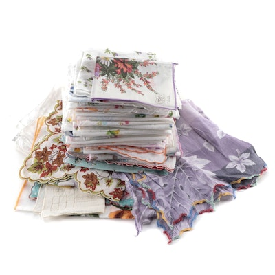Jeou D'Orly, Colette, Embroidered, Floral Print and Other Handkerchiefs