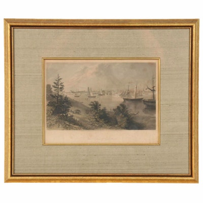 """R. Hinshelwood Etching after A.C. Warren """"The City of Detroit,"""" circa 1872"""