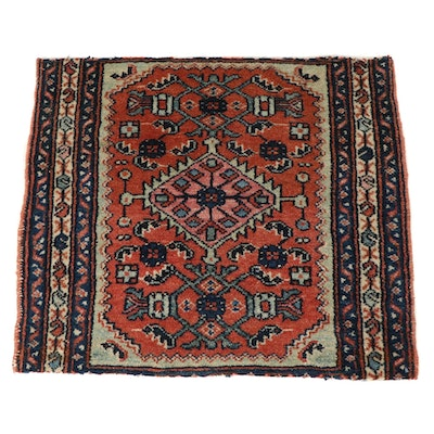1'11 x 2'2 Hand-Knotted Persian Malayer Rug, 1920s