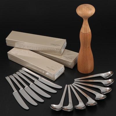 """Georg Jensen Stainless Steel """"Copenhagen"""" Steak Knives, Spoons and Pepper Mill"""