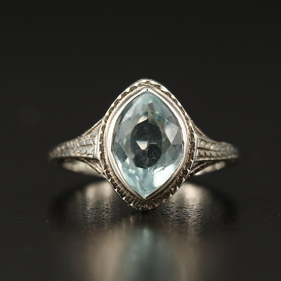 Art Deco 18K Aquamarine Filigree Ring