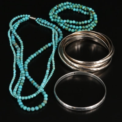 Turquoise Necklace with Rolling, Bangle and Multi-Strand Turquoise Bracelets